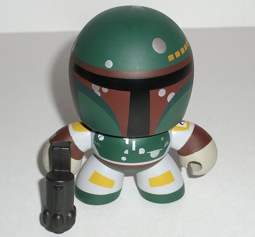 Boba Fett figure, produced by Hasbro. Front view.