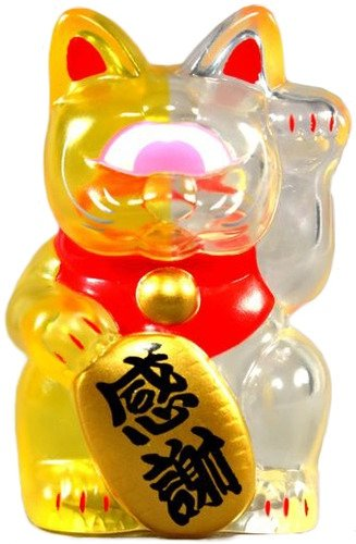 Mini Fortune Cat - Clear Yellow Split figure by Mori Katsura, produced by Realxhead. Front view.