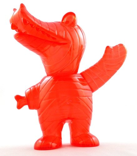 Clear Red Unpainted Mummy Gator - Lucky Bag 11 figure by Brian Flynn, produced by Super7. Front view.