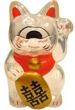 Mini Fortune Cat - Clear w/ Red Collar figure by Mori Katsura, produced by Realxhead. Front view.