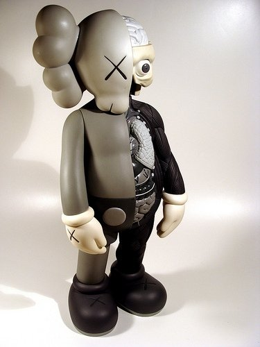Dissected Companion - Mono  figure by Kaws, produced by Medicom Toy. Front view.