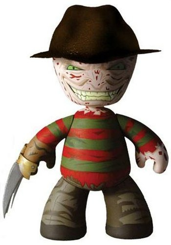 Freddy Kreuger figure, produced by Mezco Toyz. Front view.