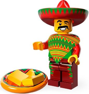Taco Tuesday Man figure by Lego, produced by Lego. Front view.