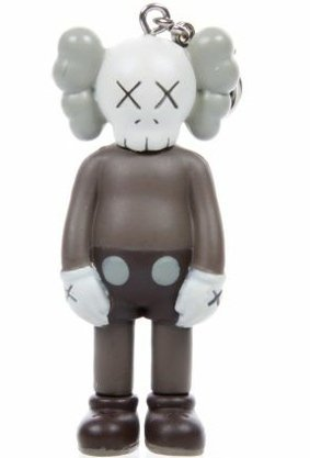 Companion Keychain - Brown  figure by Kaws, produced by Original Fake. Front view.