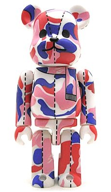 Bape Play Be@rbrick S1 - Tricolor Camo figure by Bape, produced by Medicom Toy. Front view.