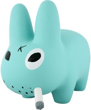 Smorkin Labbit Powder Blue SDCC  figure by Frank Kozik, produced by Kidrobot. Front view.