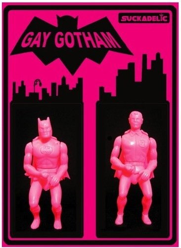 Gay Gotham - SDCC 2013 figure by Sucklord, produced by Suckadelic. Front view.