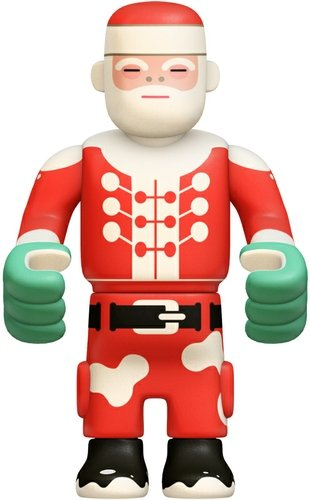 Santa figure by Eboy, produced by Kidrobot. Front view.