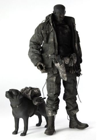 Bleak Mission + Custard the Satanic Labrador Shadow figure by Ashley Wood, produced by Threea. Front view.