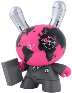 Warhead Dunny figure by Shok-1, produced by Kidrobot. Front view.
