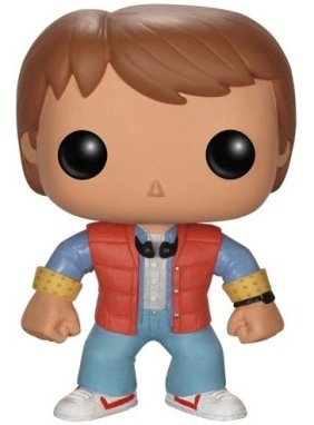 Marty McFly POP! figure by Funko, produced by Funko. Front view.