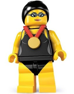 Swimming Champion figure by Lego, produced by Lego. Front view.