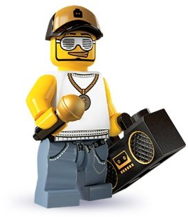 Rapper figure by Lego, produced by Lego. Front view.