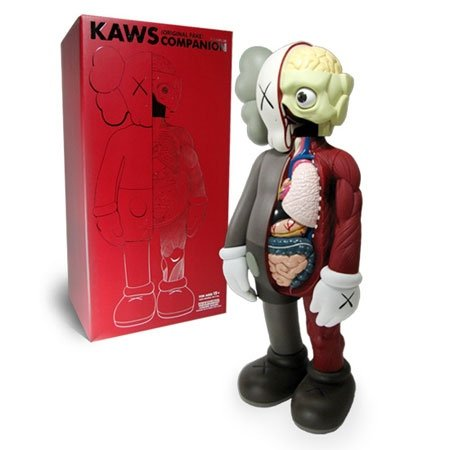 Dissected Companion - Brown figure by Kaws, produced by Medicom Toy. Front view.