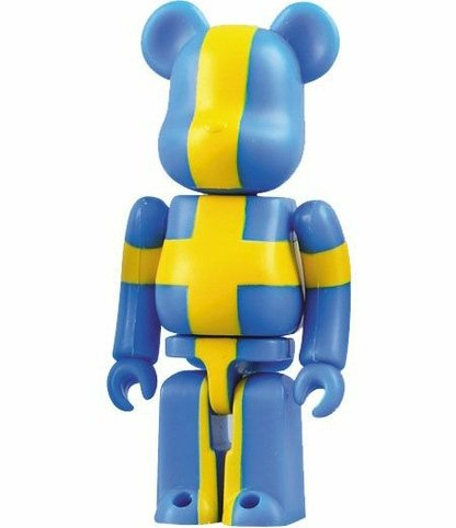 Sweden - Flag Be@rbrick Series 16 figure, produced by Medicom Toy. Front view.
