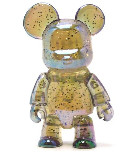Metallic Bear Qee - Clear Glitter  figure, produced by Toy2R. Front view.