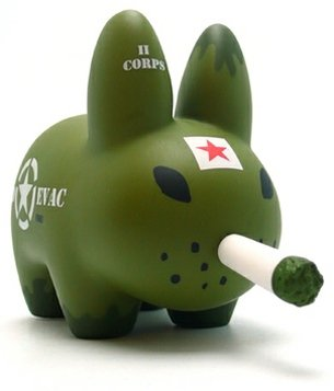 Corpsman Labbit figure by Frank Kozik, produced by Kidrobot. Front view.