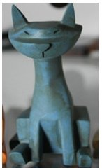 Blue Kitty figure by Ashley Wood, produced by Threea. Front view.