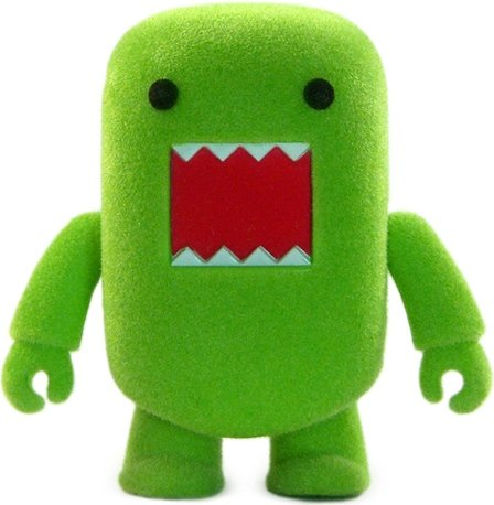 Green Flocked Domo Qee figure by Dark Horse Comics, produced by Toy2R. Front view.