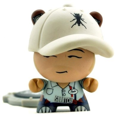 DJ Qbert - Blue figure by Huck Gee, produced by Kidrobot. Front view.