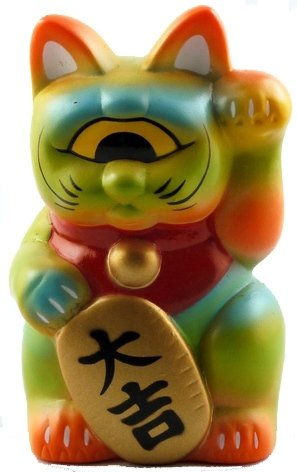Mini Fortune Cat - Green, Orange and Blue figure by Realxhead, produced by Realxhead. Front view.
