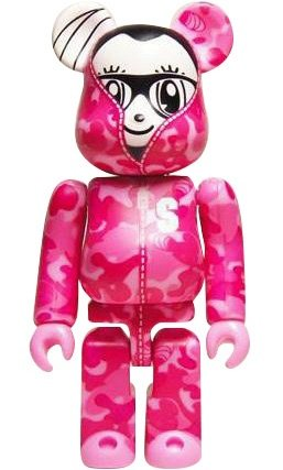 Stay Real Pink Camo Be@rbrick 100% figure by Stayreal, produced by Medicom Toy. Front view.