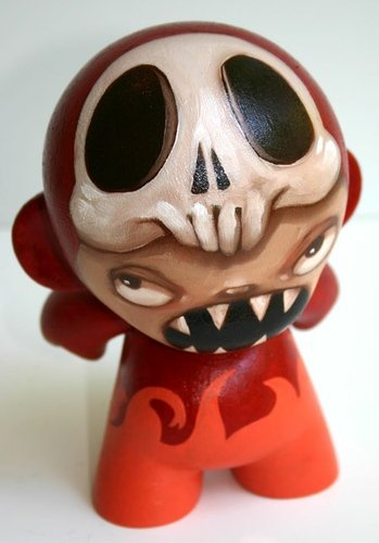 Parasitic Boy in Red Bear Suit figure by Kathie Olivas, produced by Kidrobot. Front view.