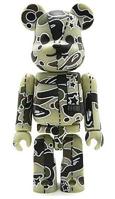 Bape Play Be@rbrick S2 - light green camo figure by Bape, produced by Medicom Toy. Front view.