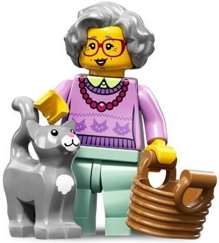Grandma figure by Lego, produced by Lego. Front view.
