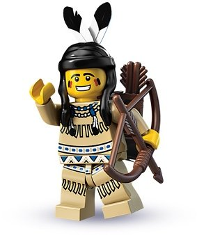 Tribal Hunter figure by Lego, produced by Lego. Front view.