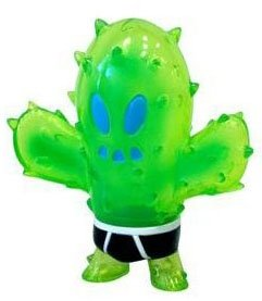 Little Prick - Clear Green figure by Brian Flynn, produced by Super7. Front view.