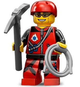 Mountain Climber figure by Lego, produced by Lego. Front view.