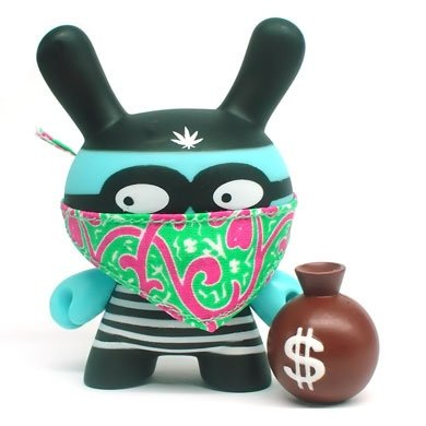 Bankrobber figure by Mishka, produced by Kidrobot. Front view.