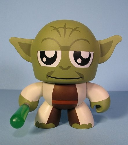 Yoda figure, produced by Hasbro. Front view.