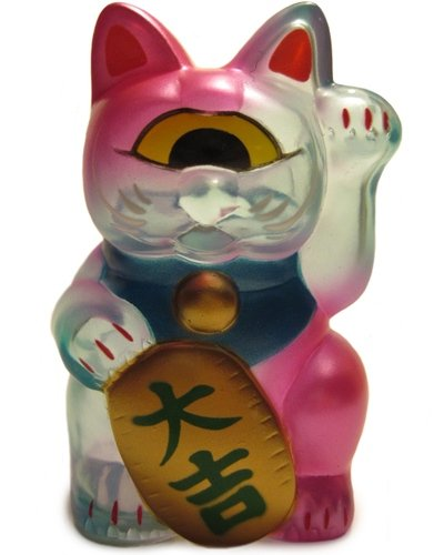 Fortune Cat Baby (フォーチュンキャットベビー) - Clear Baby Blue w/ Metallic Pink Sprays figure by Mori Katsura, produced by Realxhead. Front view.