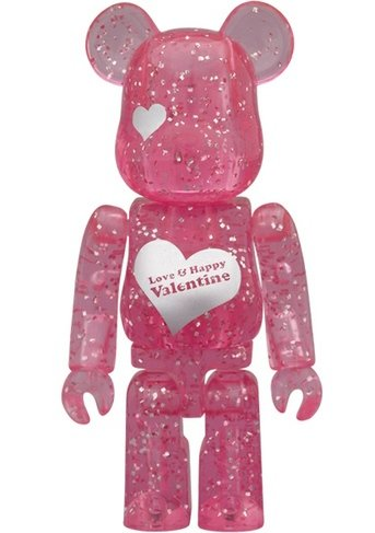 Valentine 2012 Be@rbrick 100% - Love & Happy figure, produced by Medicom Toy. Front view.