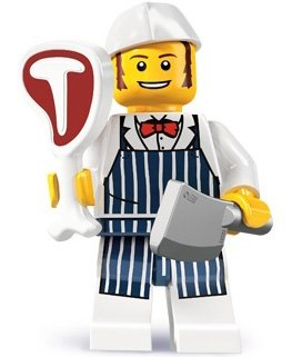 Butcher figure by Lego, produced by Lego. Front view.
