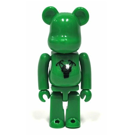 Stussy Destiny Be@rbrick - Green figure by Futura, produced by Medicom Toy. Front view.
