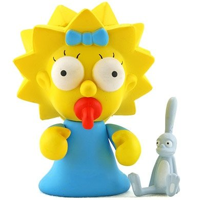 Maggie figure by Matt Groening, produced by Kidrobot. Front view.
