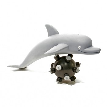 I.W.G. - Desmond the Dolphin figure by Patrick Ma, produced by Rocketworld. Front view.