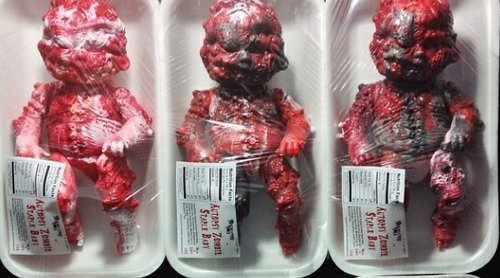 Autopsy Zombie Staple Baby - Expired Meat figure by Jeremi Rimel (Miscreation Toys), produced by Lulubell Toys. Front view.