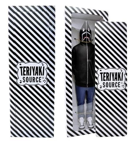 Teriyaki boyz in Black - serious japanese bape shark hoodie figures figure, produced by A Bathing Ape. Front view.