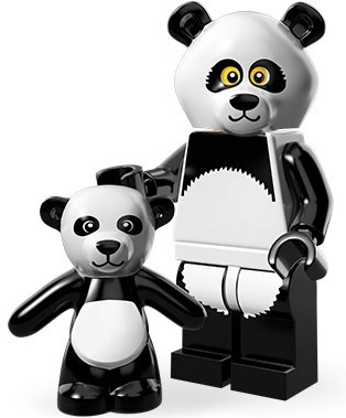 Panda Guy figure by Lego, produced by Lego. Front view.