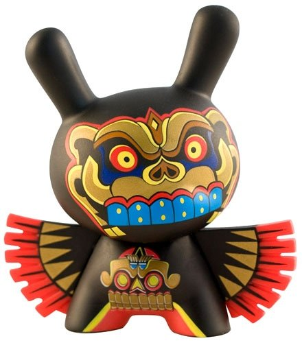 Dios Murcielago Dunny figure by Jesse Hernandez, produced by Kidrobot. Front view.