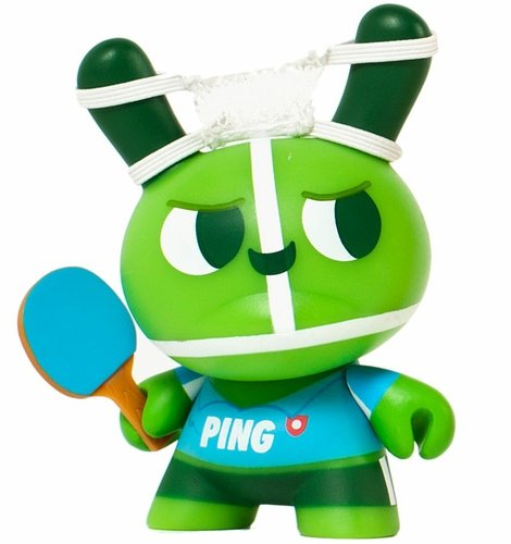 The Ping Pong Twins - Ping  figure by Mauro Gatti, produced by Kidrobot. Front view.