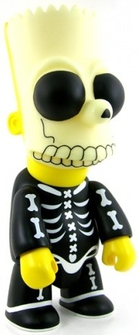 Bart Simpson Qee 10 - Bone, Skeleton Mask 1 figure by Matt Groening, produced by Toy2R. Front view.