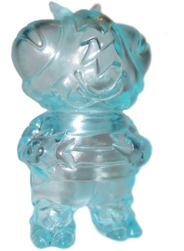 Micro Boris the Bee - Clear Teal figure by Bwana Spoons, produced by Gargamel. Front view.