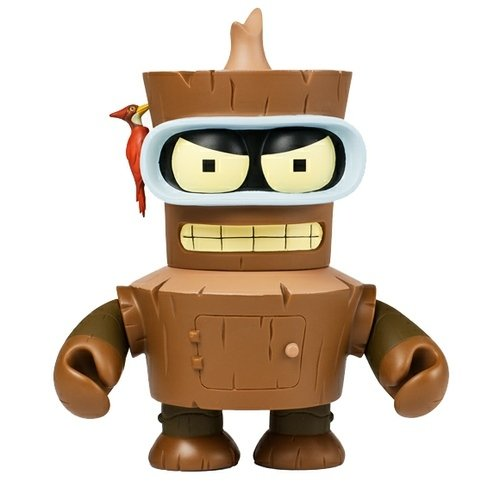 Wooden Bender figure by Matt Groening, produced by Kidrobot. Front view.