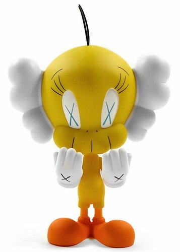 Tweety - Yellow figure by Kaws, produced by Medicom Toy. Front view.