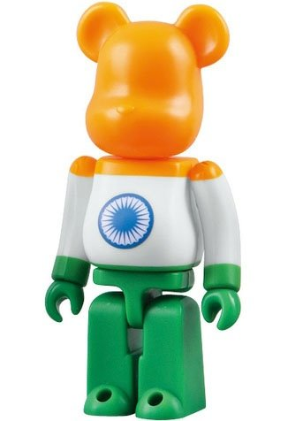 India - Flag Be@rbrick Series 18 figure, produced by Medicom Toy. Front view.